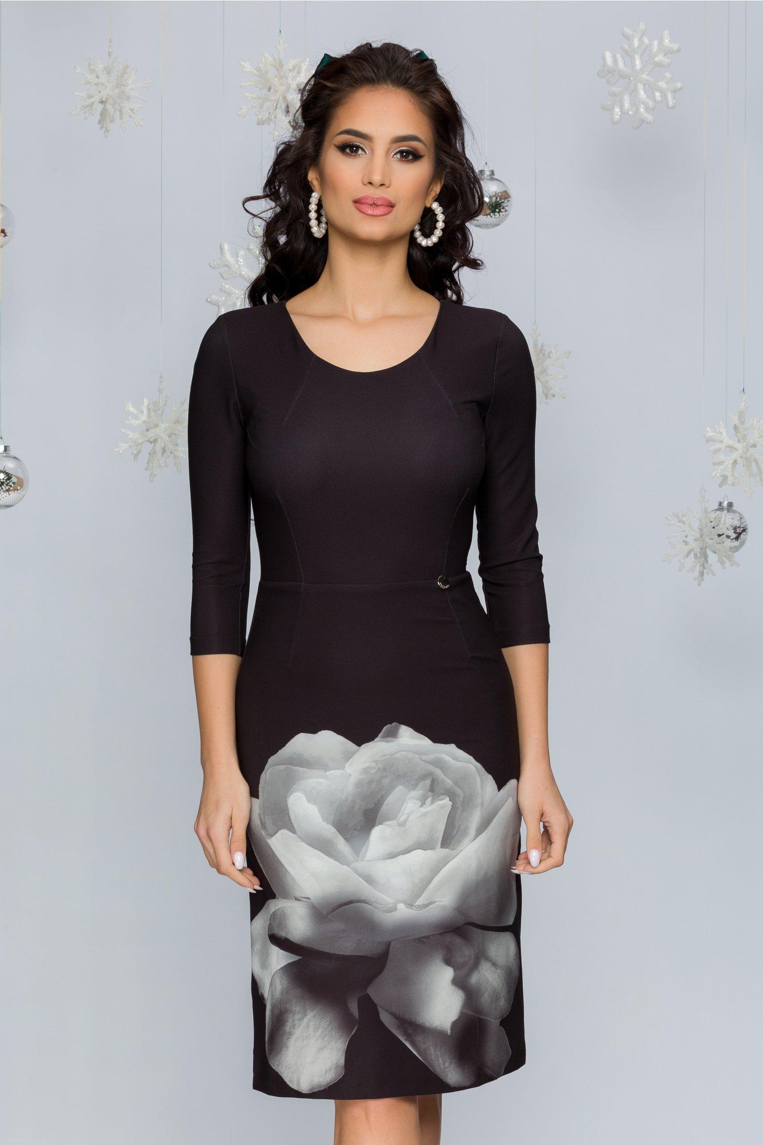 Rochie Eliza neagra cu floare gri la baza
