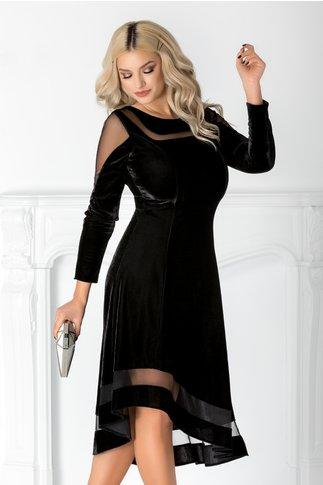 Rochie Eliza neagra din catifea cu tull