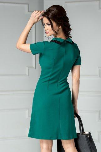 Rochie Eliza verde de zi cu guler
