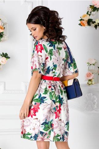 Rochie Elize alba cu crini colorati