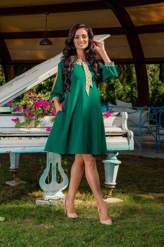 Rochie Ella Collection Adela verde cu maneci decupate