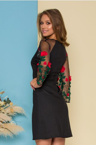 Rochie Ella Collection Cindy neagra cu broderie florala 3D pe maneci