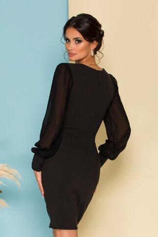 Rochie Ella Collection Elegance neagra cu broderie si maneci din voal
