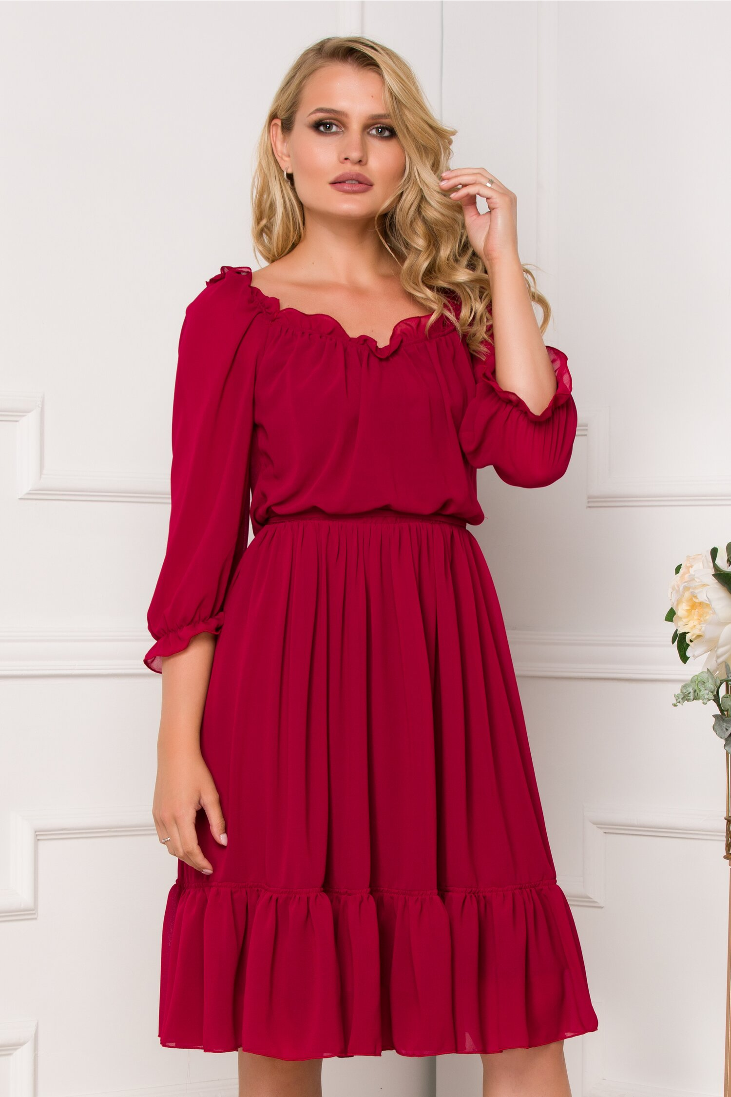 Rochie Ella Collection Mara bordo din voal