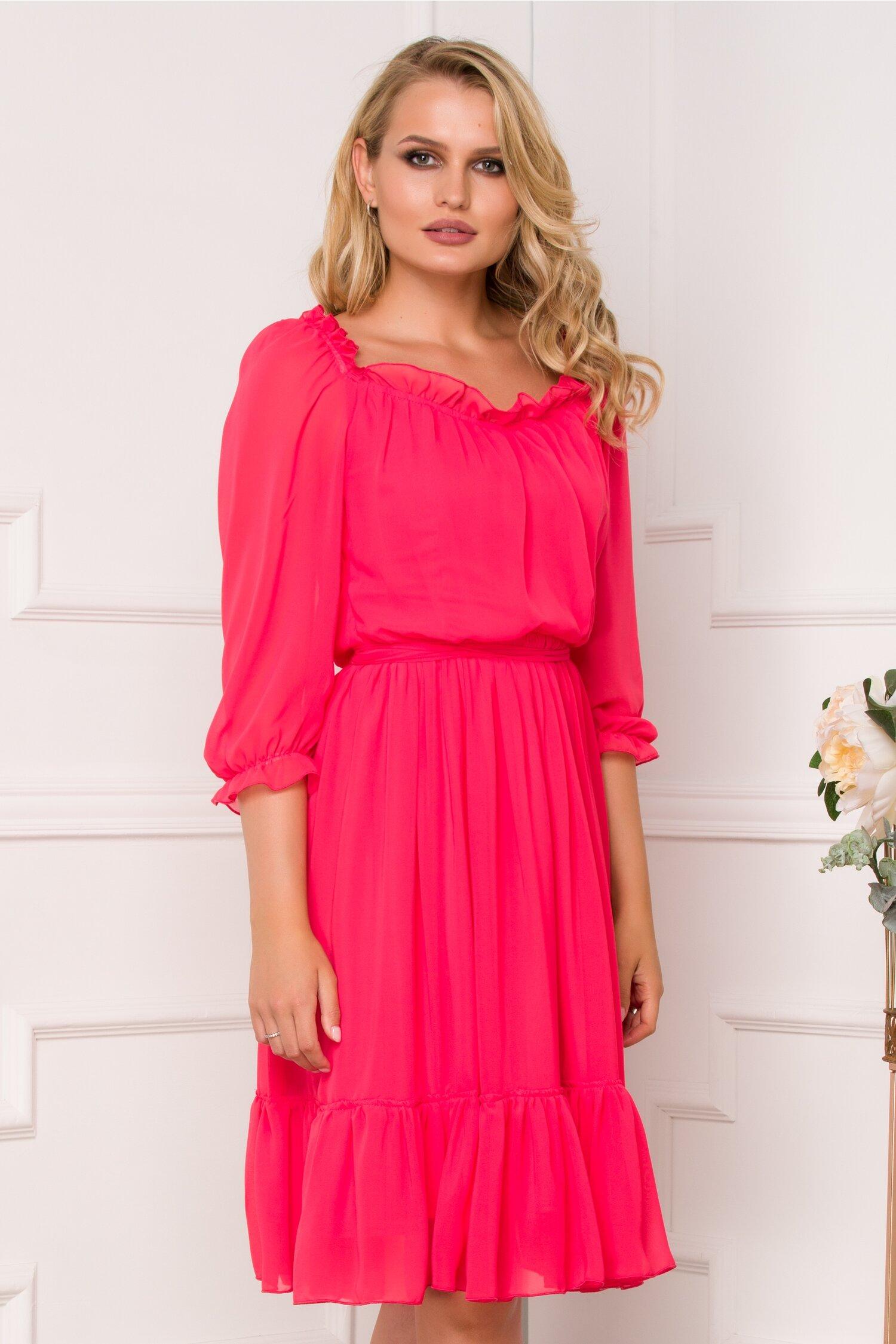 Rochie Ella Collection Mara roz zmeura din voal