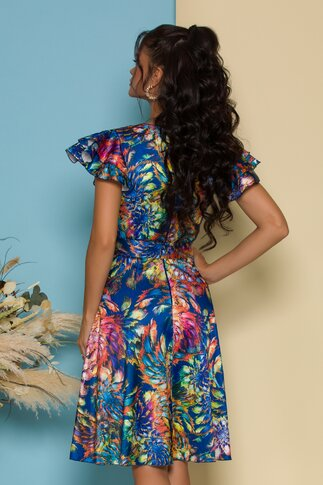 Rochie Ella Collection Megan albastra cu imprimeu floral bleu si cordon in talie