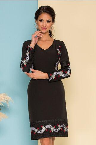 Rochie Ella Collection Monik neagra cu broderie florala eleganta