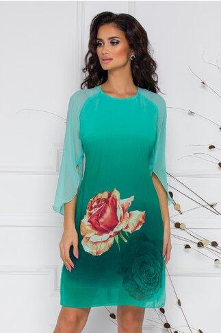 Rochie Ella Collection Roua verde din voal cu trandafir imprimat