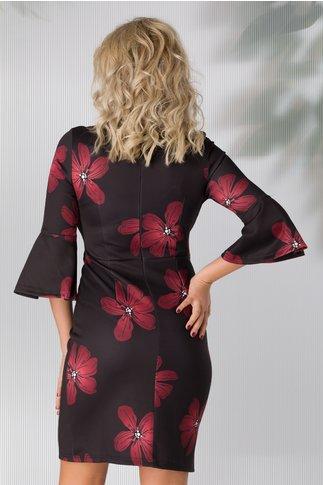 Rochie Ella neagra cu flori maxi bordo