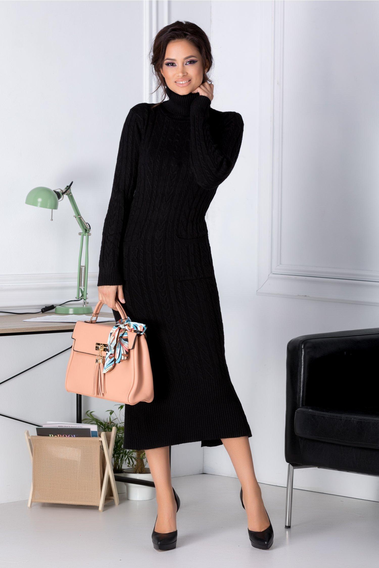 Rochie Ella neagra din tricot cu buzunare