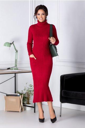 Rochie Ella rosie din tricot cu buzunare