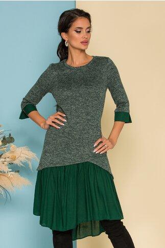 Rochie Ella verde din tricot cu volan la baza