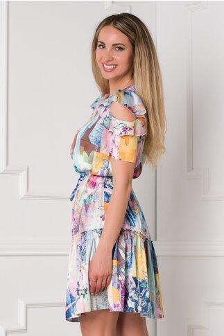 Rochie Ellie cu imprimeuri florale in nuante pastelate
