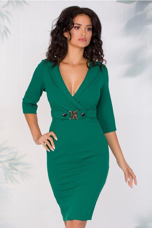 Rochie Elly verde cu guler adanc petrecut