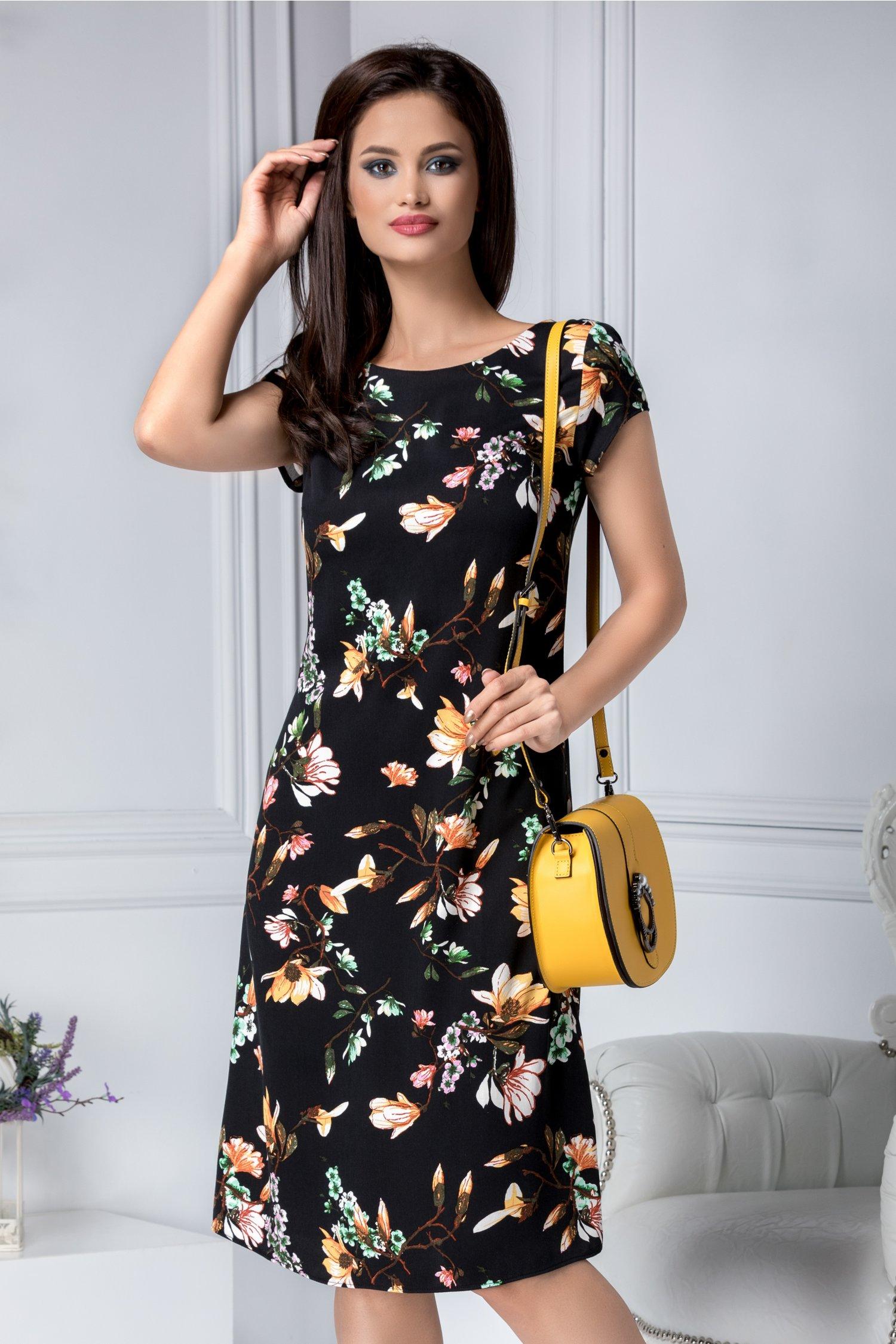 Rochie Eloise neagra cu imprimeu floral