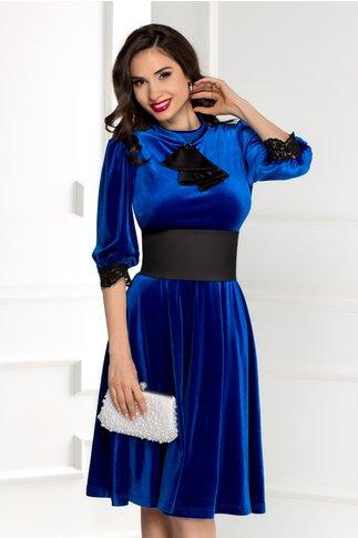 Rochie Elora albastra din catifea cu jabou si cordon detasabil
