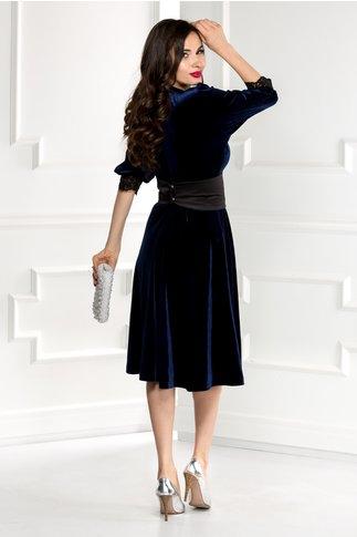 Rochie Elora din catifea bleumarin cu jabou si cordon detsabil