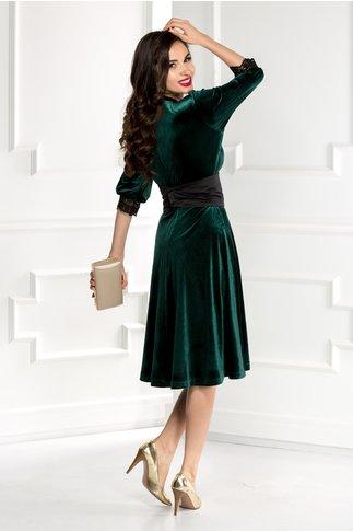 Rochie Elora din catifea verde cu jabou si cordon detasabil