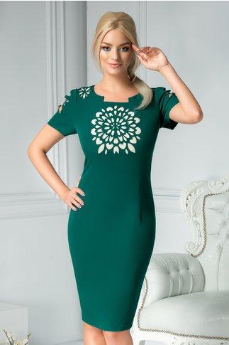 Rochie Elora midi verde inchis cu decupaj floral