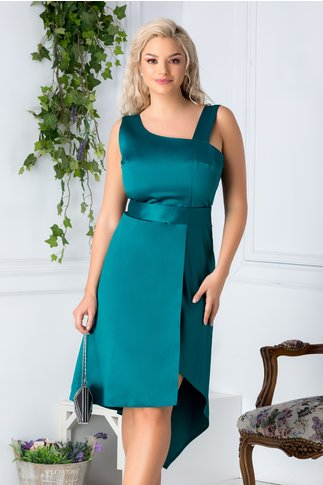 Rochie Elsa eleganta verde cu cordon in talie