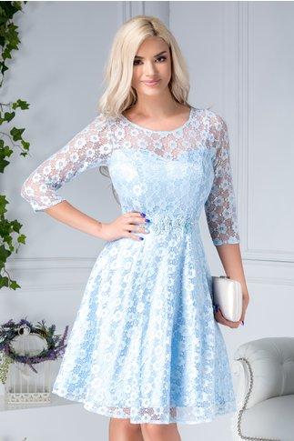 Rochie Elvira bleu din dantela cu floricele