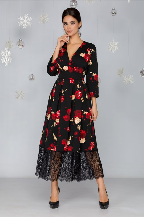 Rochie Ely neagra cu imprimeuri florale si baza din dantela