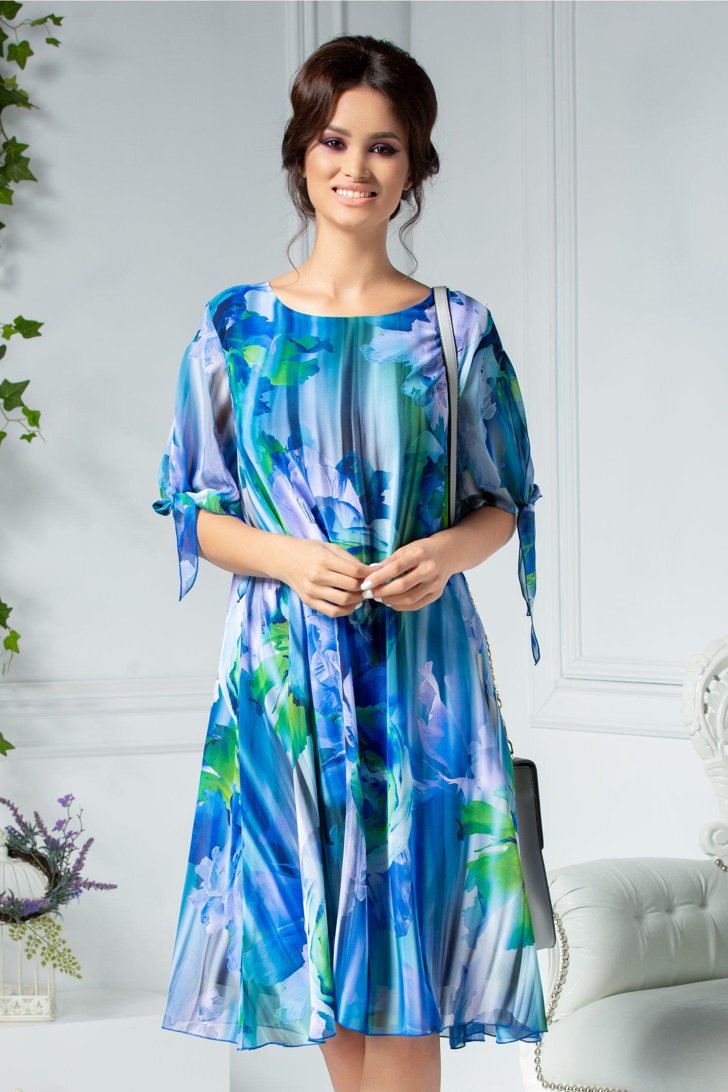 Rochie Ema bleu in degrade cu imprimeu verde