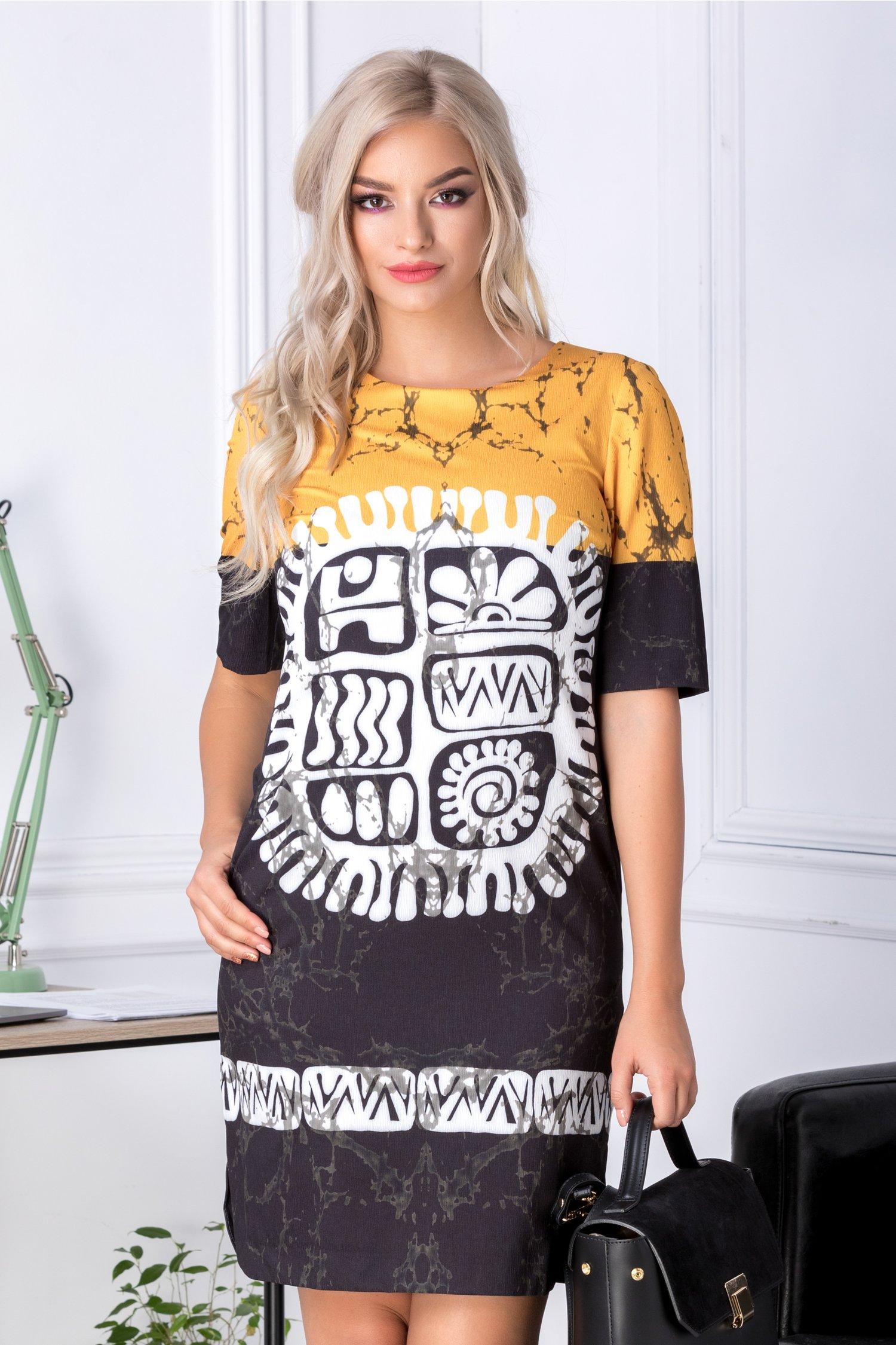 Rochie Ema negru cu galben si imprimeu alb