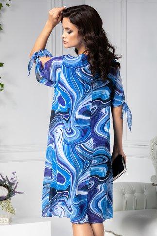 Rochie Ema vaporoasa albastra cu imprimeu divers
