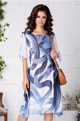Rochie Ema vaporoasa bleu in degrade cu imprimeu