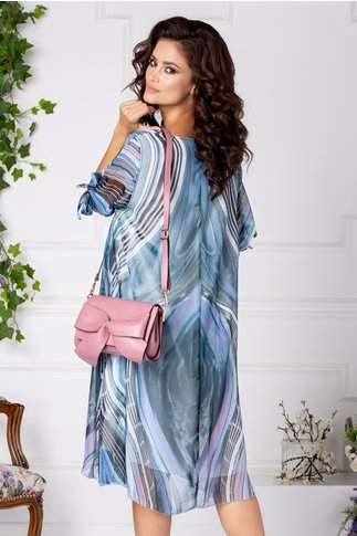 Rochie Ema vaporoasa cu imprimeu bleu-lila