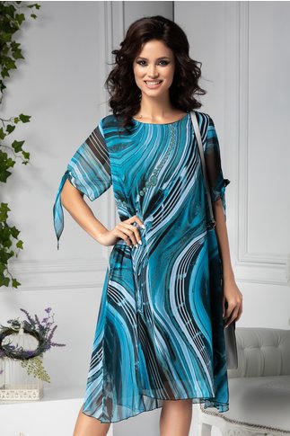 Rochie Ema vaporoasa de vara cu imprimeu bleu