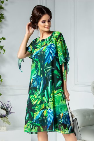 Rochie Ema verde vaporoasa cu imprimeu tropical