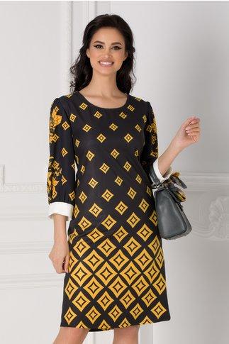 Rochie Emi neagra cu imprimeu geometric