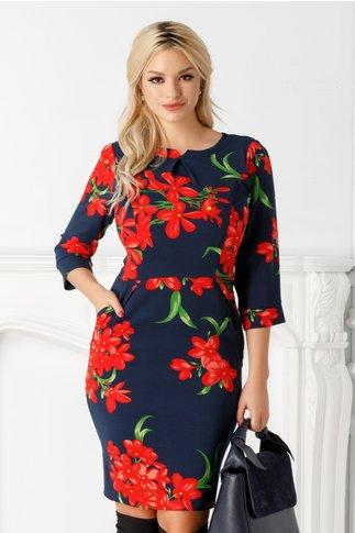 Rochie Emilia bleumarin cu flori rosii