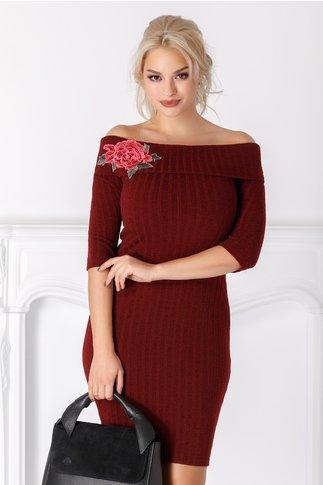 Rochie Emilia bordo din tricot cu trandafir brodat