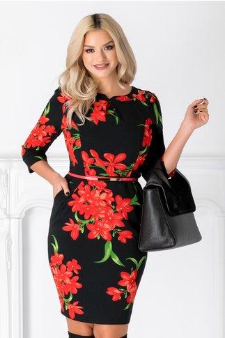 Rochie Emilia neagra cu flori rosii