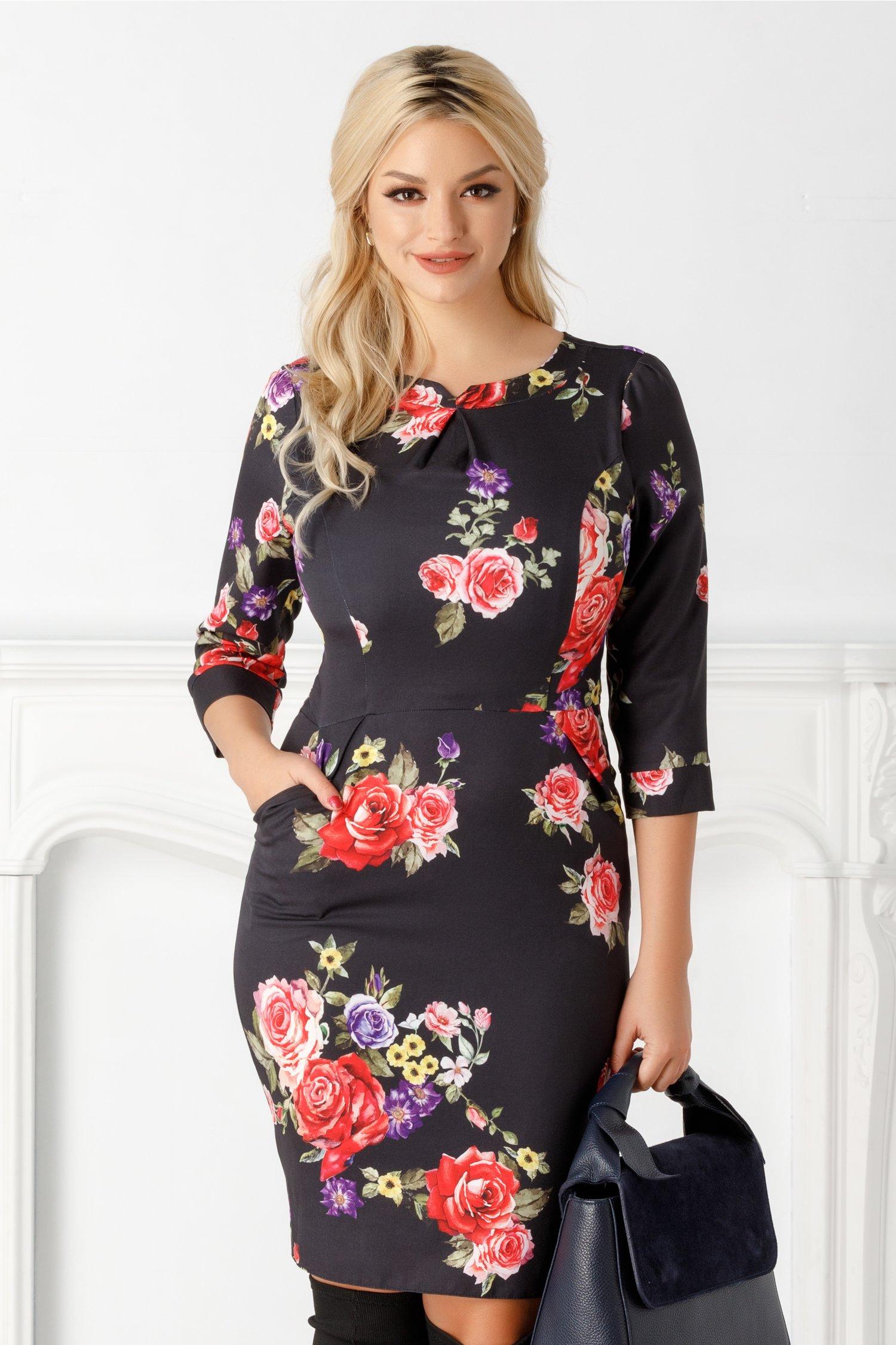 Rochie Emilia neagra cu trandafiri