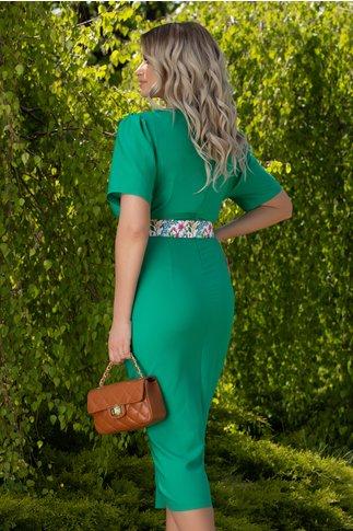 Rochie Emilia verde cu curea in talie