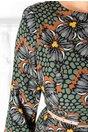 Rochie Emilia verde cu imprimeuri florale