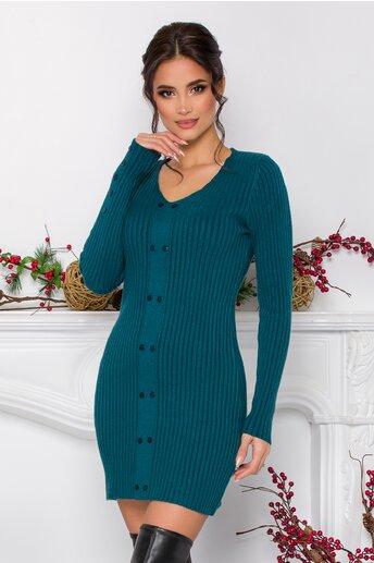 Rochie Emilly albastru petrol din tricot reiat cu nasturi decorativi