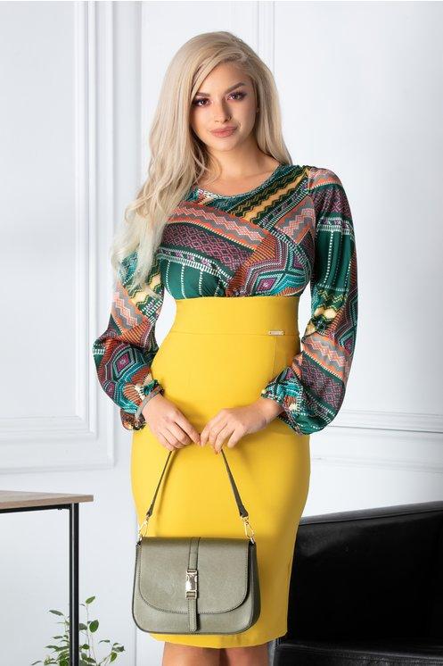 Rochie Emilly galben si verde cu imprimeu colorat