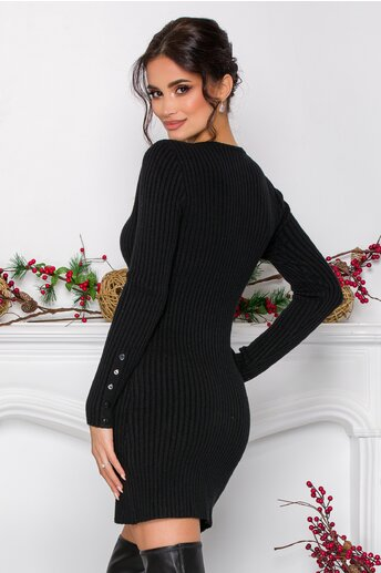 Rochie Emilly neagra din tricot reiat cu nasturi decorativi