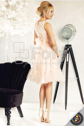 Rochie Fofy Emira din tull rose prafuit cu broderie 3D la bust