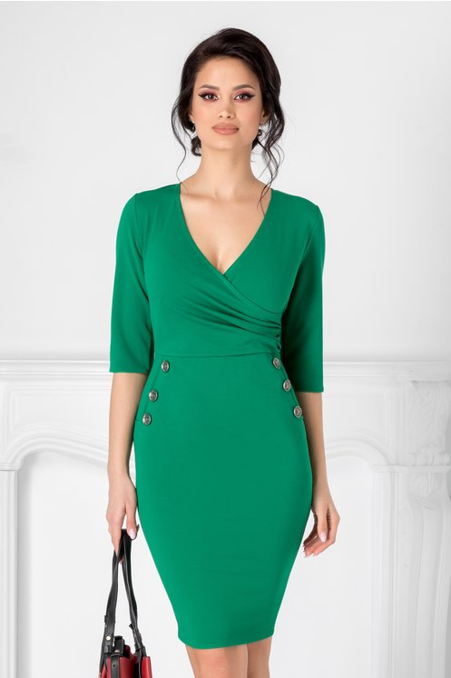 Rochie Emma verde cu decolteu petrecut si nasturi decorativi