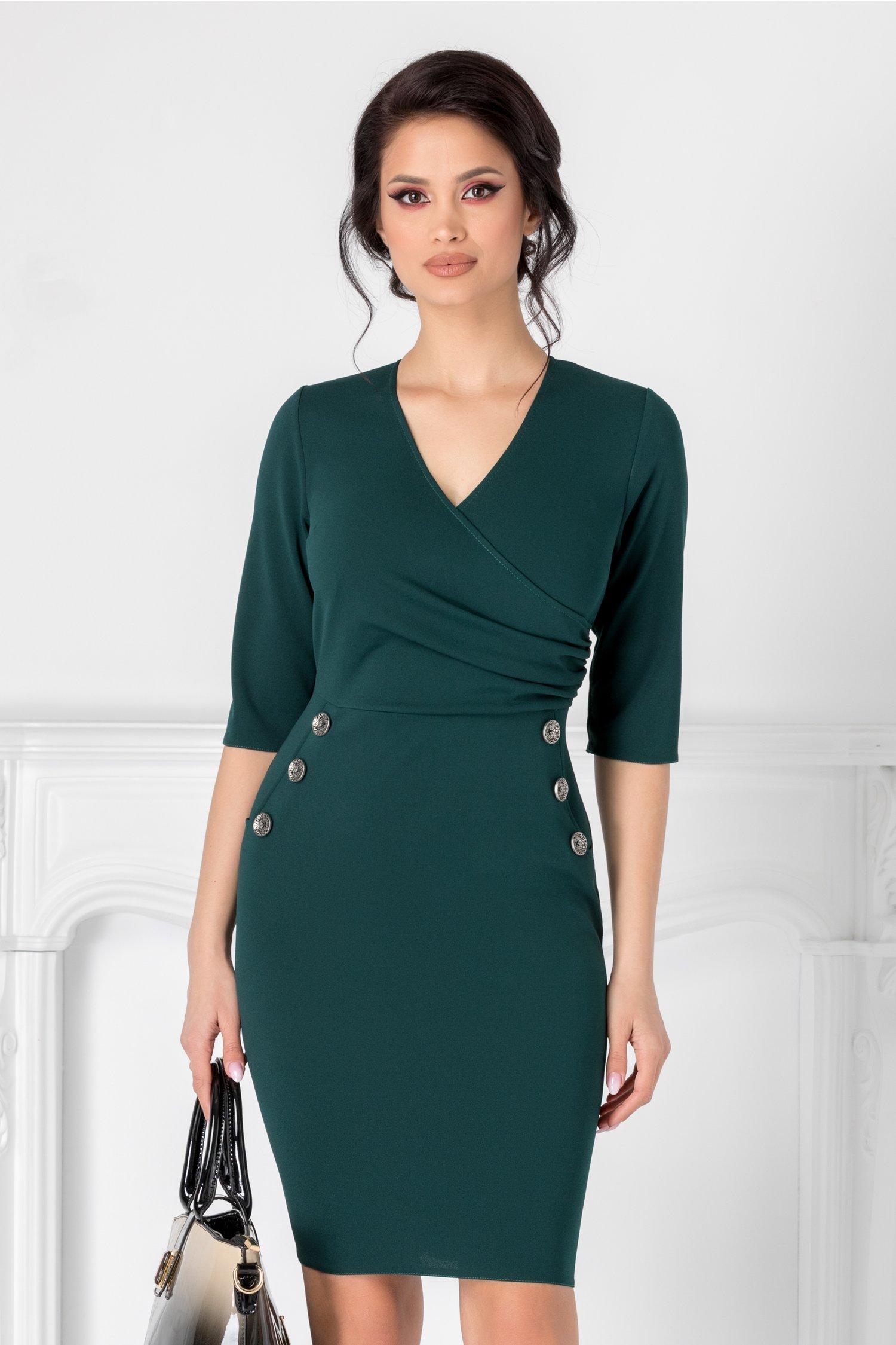 Rochie Emma verde petrol cu decolteu petrecut si nasturi decorativi