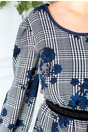 Rochie Emy cu imprimeu divers si flori bleumarin