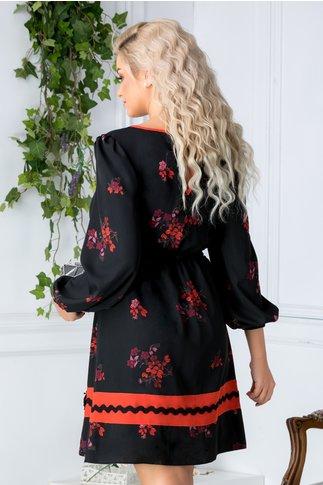 Rochie Emy neagra cu imprimeu floral orange
