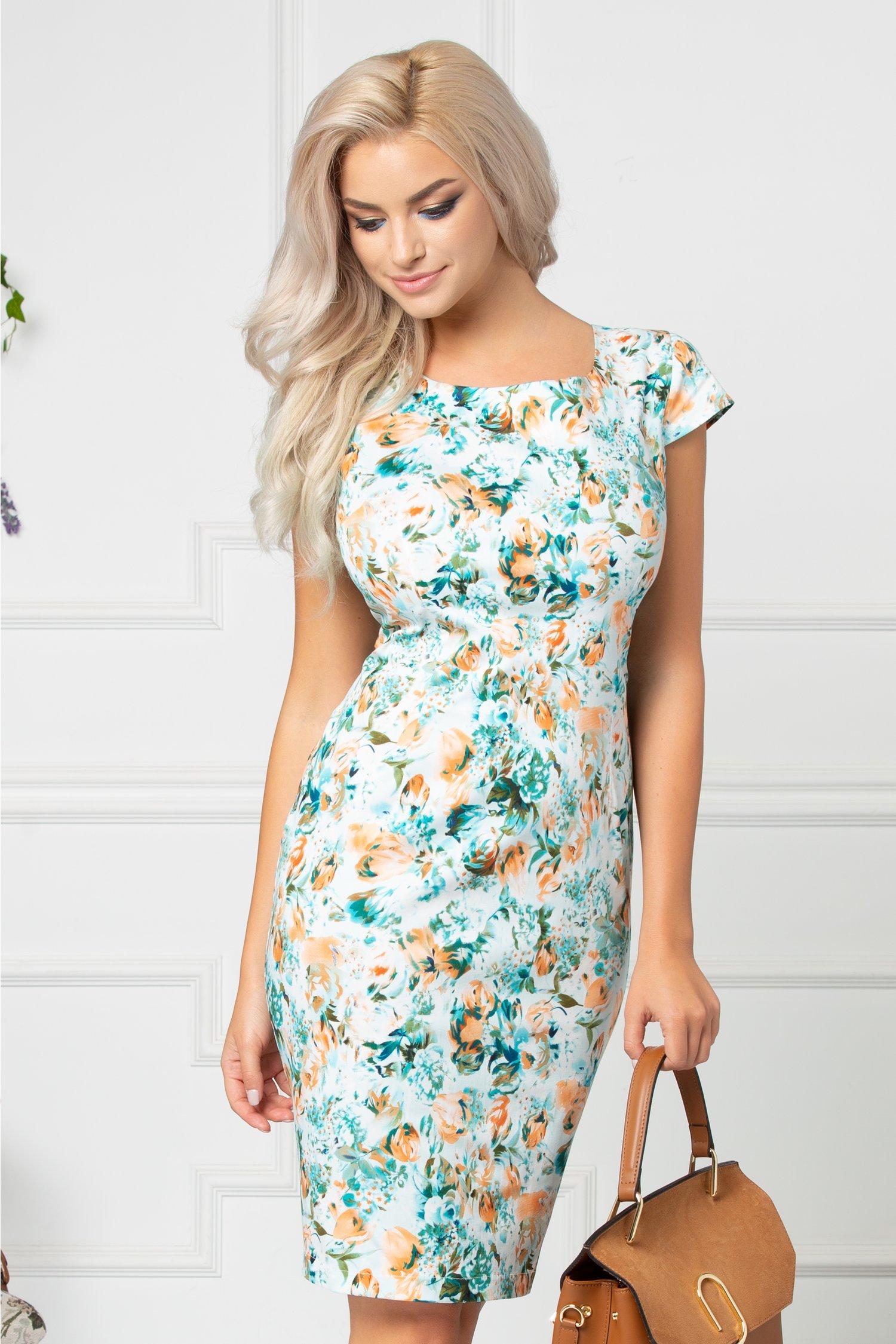 Rochie Erica bleu cu flori orange