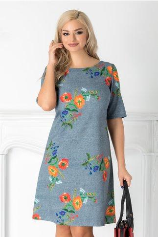 Rochie Erica bleu cu imprimeu floral